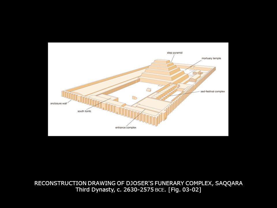 RECONSTRUCTION DRAWING OF DJOSER S FUNERARY COMPLEX, SAQQARA Third Dynasty, c. 2630-2575 BCE. [Fig. 03-02]